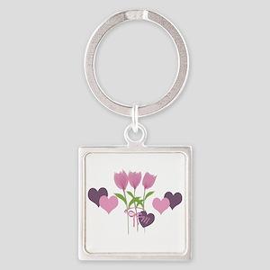 Pink Tulip Monogram Square Keychain
