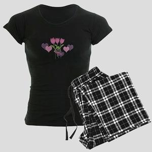 Pink Tulip Monogram Women's Dark Pajamas