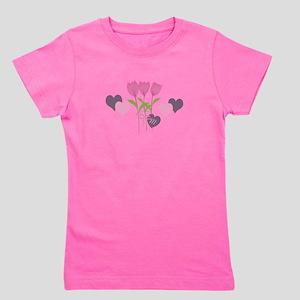 Pink Tulip Monogram Girl's Tee
