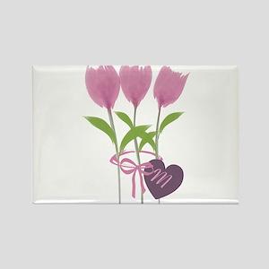 Pink Tulip Monogram Rectangle Magnet