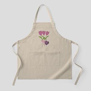 Pink Tulip Monogram Apron