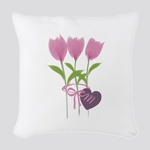 Pink Tulip Monogram Woven Throw Pillow