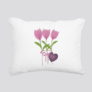 Pink Tulip Monogram Rectangular Canvas Pillow
