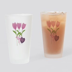 Pink Tulip Monogram Drinking Glass