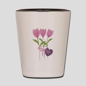 Pink Tulip Monogram Shot Glass