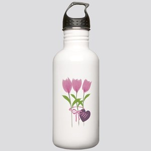 Pink Tulip Monogram Stainless Water Bottle 1.0L