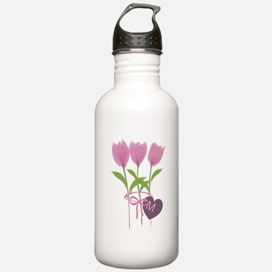 Pink Tulip Monogram Water Bottle
