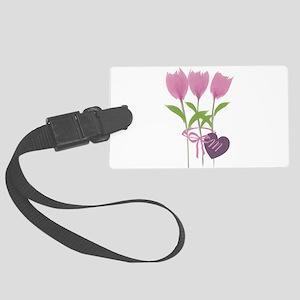 Pink Tulip Monogram Large Luggage Tag