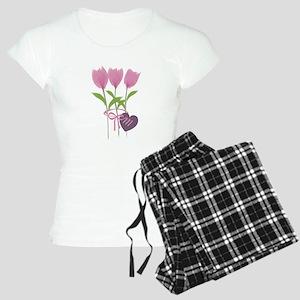 Pink Tulip Monogram Women's Light Pajamas