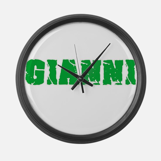Gianni Name Weathered Green Desig Large Wall Clock