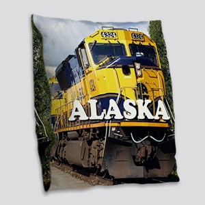 Alaska Railroad engine locomot Burlap Throw Pillow