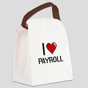 I Love Payroll Digital Design Canvas Lunch Bag