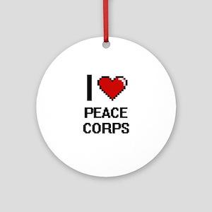 I Love Peace Corps Digital Design Round Ornament