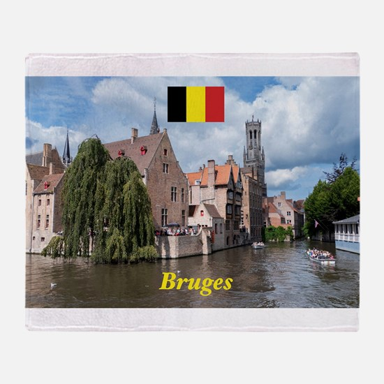 Stunning! Bruges canal Throw Blanket