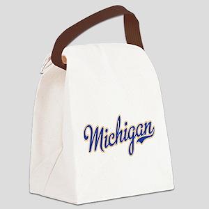 Michigan Script Font Canvas Lunch Bag