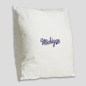 Michigan Script Font Burlap Throw Pillow