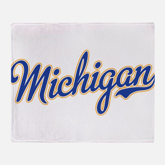 Michigan Script Font Throw Blanket