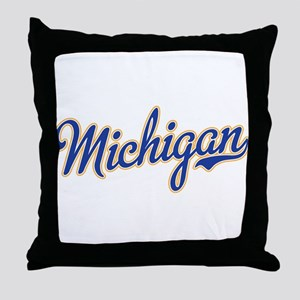 Michigan Script Font Throw Pillow