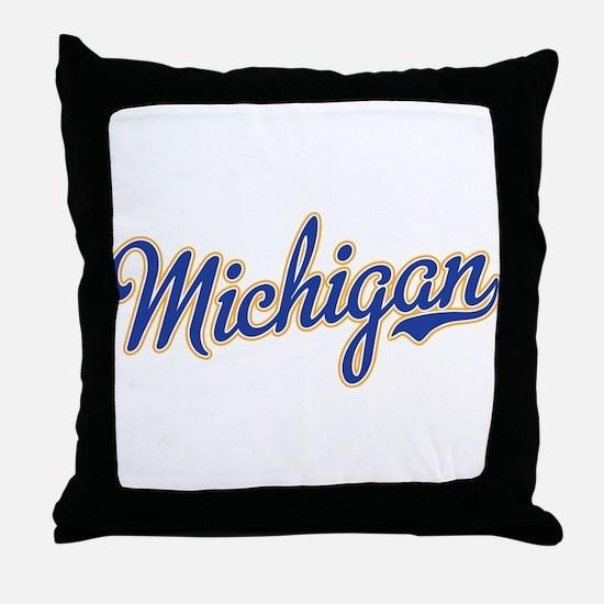Michigan Script Font Throw Pillow