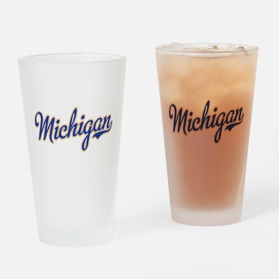 Michigan Script Font Drinking Glass