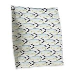 Milkfish Pattern Burlap Throw Pillow