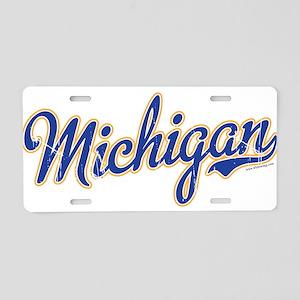 Michigan Script Font Vintage Aluminum License Plat