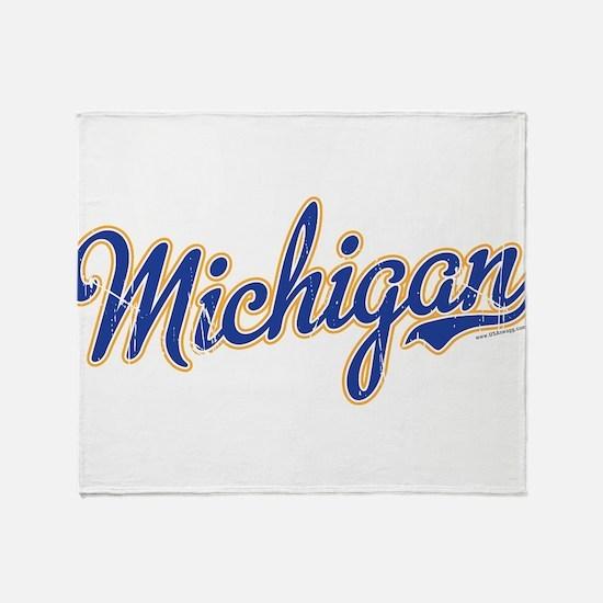 Michigan Script Font Vintage Throw Blanket
