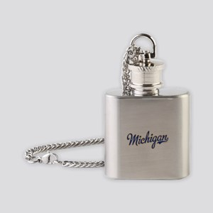 Michigan Script Font Vintage Flask Necklace