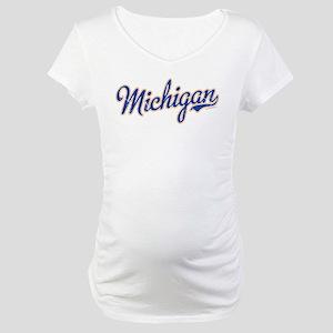 Michigan Script Font Vintage Maternity T-Shirt