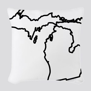 Michigan State Outline Woven Throw Pillow