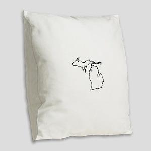 Michigan State Outline Burlap Throw Pillow