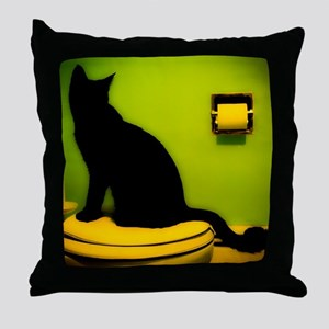 Toilet Cat Throw Pillow