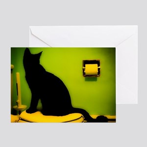 Toilet Cat Greeting Card