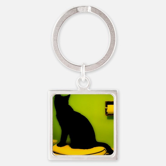 Toilet Cat Square Keychain