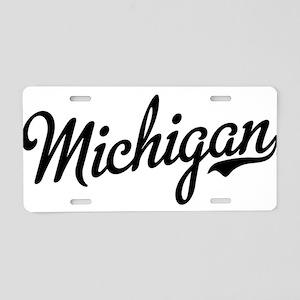 Michigan Script Black Aluminum License Plate