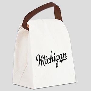 Michigan Script Black Canvas Lunch Bag