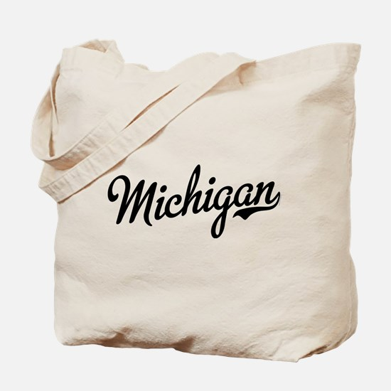 Michigan Script Black Tote Bag