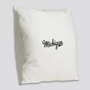 Michigan Script Black Burlap Throw Pillow