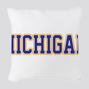 Michigan Jersey Blue Woven Throw Pillow