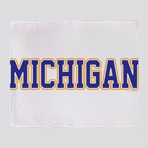 Michigan Jersey Blue Throw Blanket