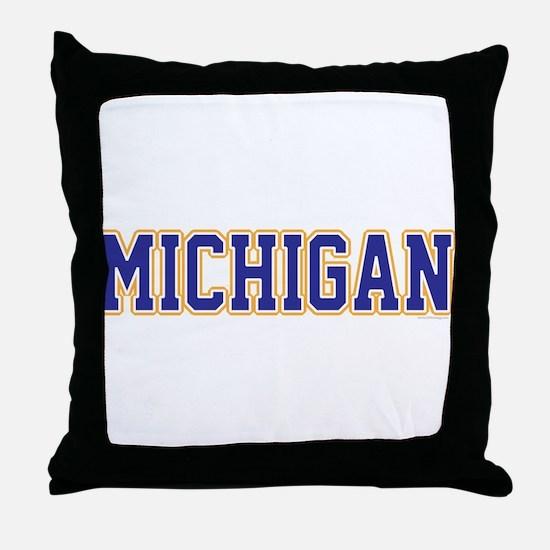 Michigan Jersey Blue Throw Pillow
