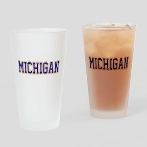 Michigan Jersey Blue Drinking Glass