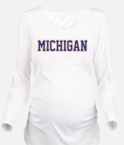 Michigan Jersey Blue Long Sleeve Maternity T-Shirt