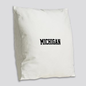 Michigan Jersey Black Burlap Throw Pillow