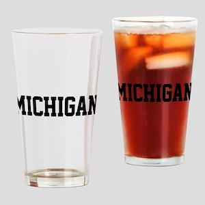 Michigan Jersey Black Drinking Glass