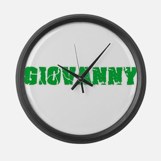 Giovanny Name Weathered Green Des Large Wall Clock