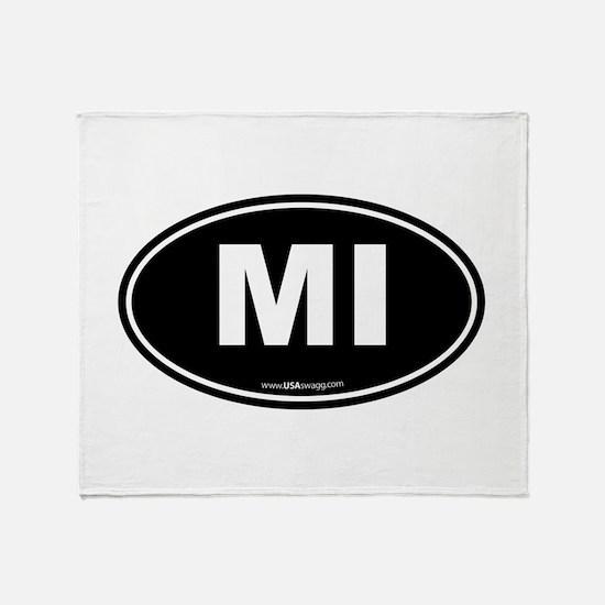 Michigan MI Euro Oval Throw Blanket