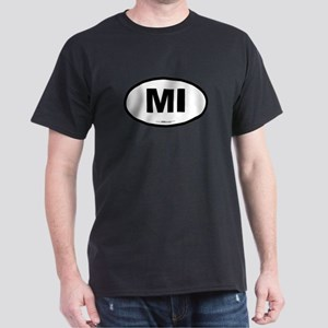 Michigan MI Euro Oval Dark T-Shirt