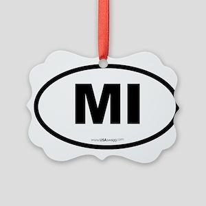 Michigan MI Euro Oval Picture Ornament