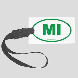 Michigan MI Euro Oval Large Luggage Tag